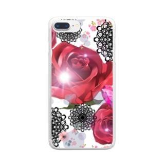 キラキラ花black Clear smartphone cases