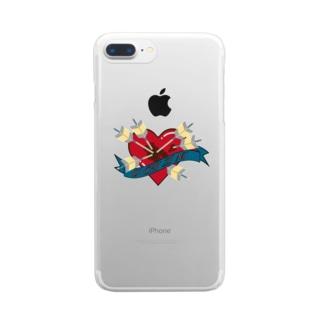 討死ハート Clear smartphone cases
