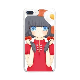 中華系女の子目玉焼きのせ Clear smartphone cases