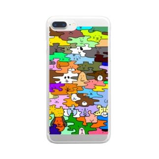 HANADAKE NINGEN迷彩マルチカラー Clear smartphone cases