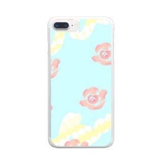 バラのパターン Clear smartphone cases
