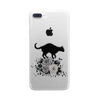 花に乗る猫 クリアスマートフォンケース
