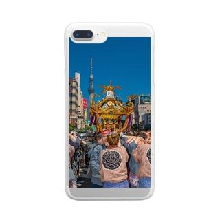 三社祭03 Clear smartphone cases