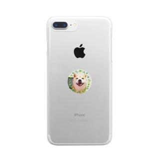 豆柴ビーン丸ワッペン Clear smartphone cases