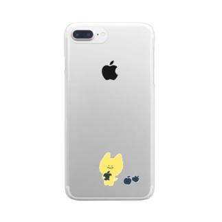 ぽいねこりんごすまほけーす Clear smartphone cases
