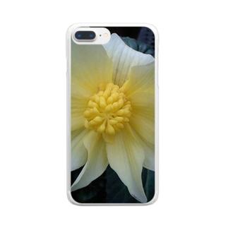 クリームイエロー Clear smartphone cases
