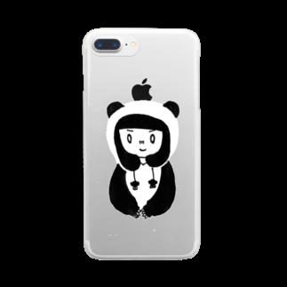 やしまだんのしょっぷの🐼パンダガール iPhone6-plus・7-plus用 Clear smartphone cases