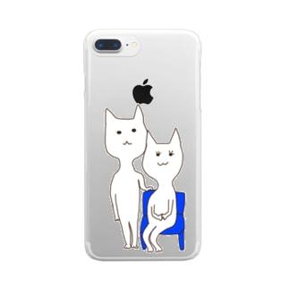 白猫兄妹の記念写真 クリアスマートフォンケース