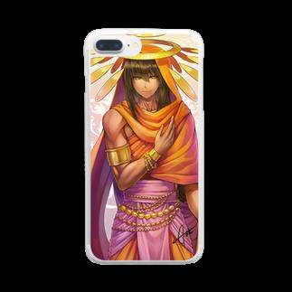 想庵 -SUZURI出張所-の熱い国の花 Clear smartphone cases