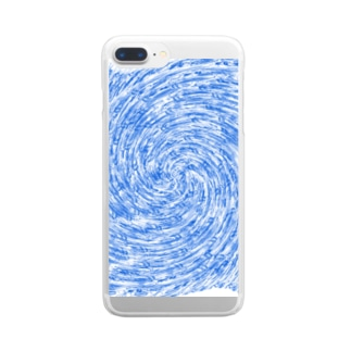 ぐるぐるブルーフィッシュ Clear smartphone cases