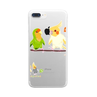 Cotolyrica ルチノーオカメインコとラブバード コザクラインコ Clear smartphone cases