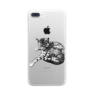 版画猫 クリアスマートフォンケース
