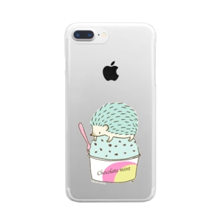 Choco Mint ハリネズミ Clear smartphone cases