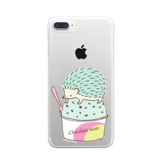 Choco Mint ハリネズミ Clear smartphone cases
