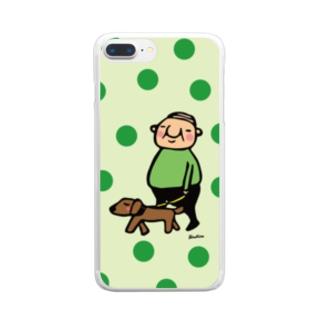 ちっちゃいおじさん岩井係長の散歩 水玉バージョン Clear smartphone cases