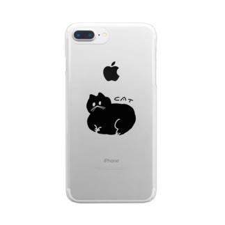 丸い黒猫 クリアスマートフォンケース