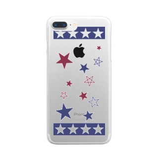 Blue×Red  Star Clear smartphone cases