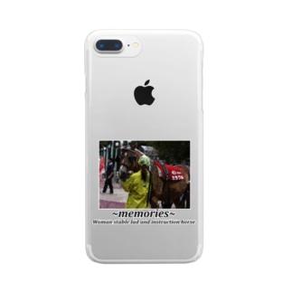 競馬イラスト 女性厩務員と誘導馬 Clear smartphone cases