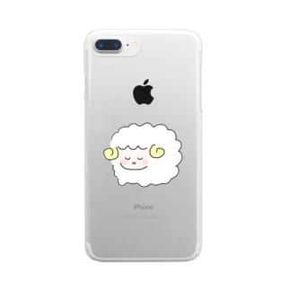 ひつじのお昼寝 Clear smartphone cases