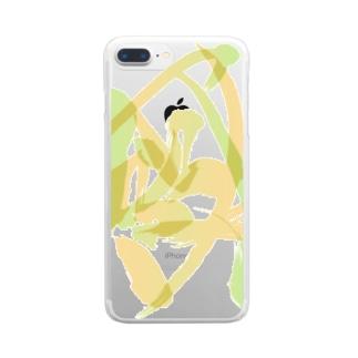 混ざり合う阿吽(グリーン×オレンジ)  Clear smartphone cases