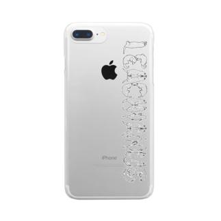 ヤモリ文字 LEACHIANUS(黒) Clear smartphone cases