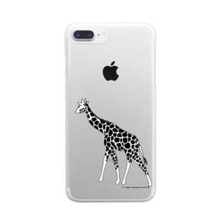 きりん(モノクロ) Clear smartphone cases
