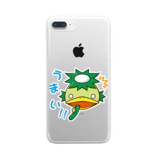 「うまい!!」かっぱ君 Clear smartphone cases