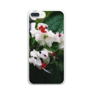 レッド&ホワイト Clear smartphone cases