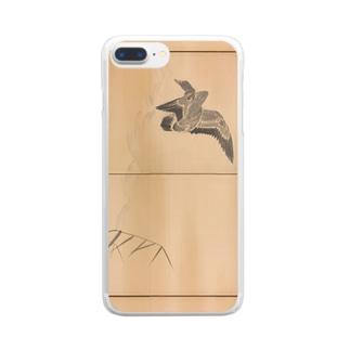 円山応挙筆 芦雁∙柳月図屏風 Clear smartphone cases