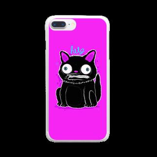HUGオフォシャルショップのBlack Cat Hot Pink Clear smartphone cases