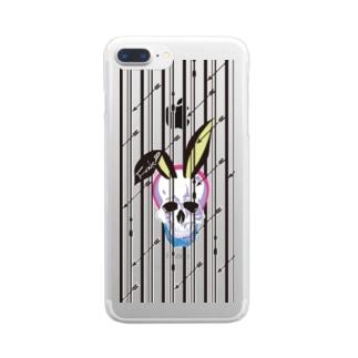 うさ耳スカル【ストライプver.】 Clear smartphone cases