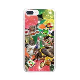 味醂歓迎パーティ ケーキver Clear smartphone cases