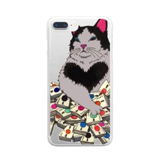 猫に大金 クリアスマートフォンケース