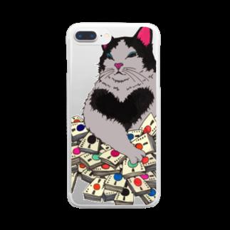 majoccoの猫に大金 Clear smartphone cases