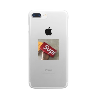 シュプリーム 赤色 長財布 人気 Clear smartphone cases