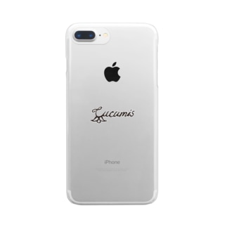 〔cucumis〕ロゴスマホケース#clear×black Clear smartphone cases