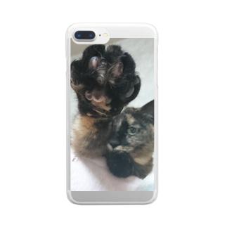 笑い猫堂SUZURI店のしゅっわっち・小梅さん Clear smartphone cases