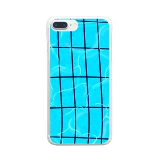 夏のプール Clear smartphone cases