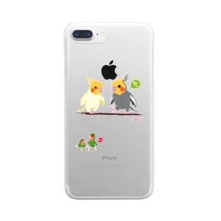 LittleLoroのどノーマルオカメインコとルチノーちょいわき Clear smartphone cases