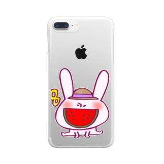 8月のうさぎ  Clear smartphone cases