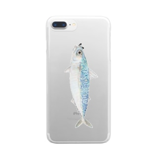 サバ(縦向きタイプ) Clear smartphone cases
