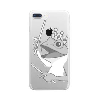 カエルとドラム Clear smartphone cases