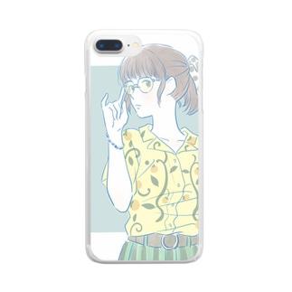 メガネっ娘 Clear smartphone cases