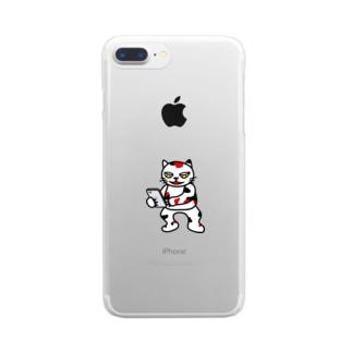 【前田デザイン室 ニャン-T プロジェクト】じゃみぃスマホ大好き Clear smartphone cases