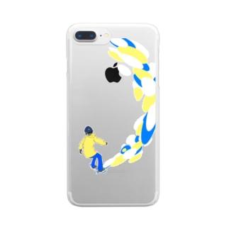 えんじょいスノーボード Clear smartphone cases