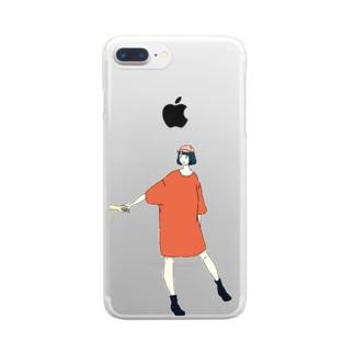手をひくTシャツワンピ Clear smartphone cases