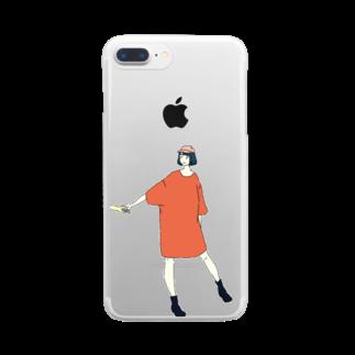 マキノノマの手をひくTシャツワンピ Clear smartphone cases