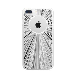 Appleマークへの集中線 Clear smartphone cases