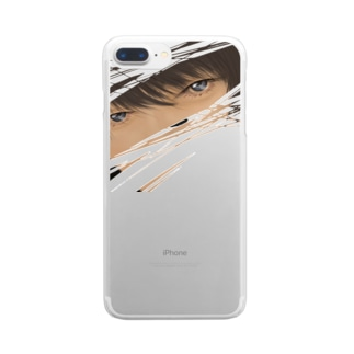 見つめるイケメン Clear smartphone cases