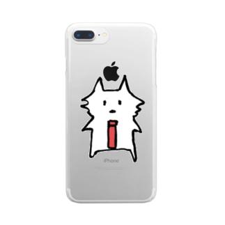 サコツネコ(文字なし) Clear smartphone cases